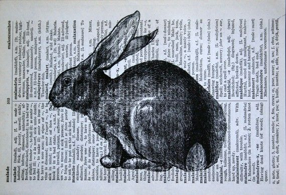 Rabbit Print on Vintage French Dictionary - 5 x 7 Bunny Print for Easter
