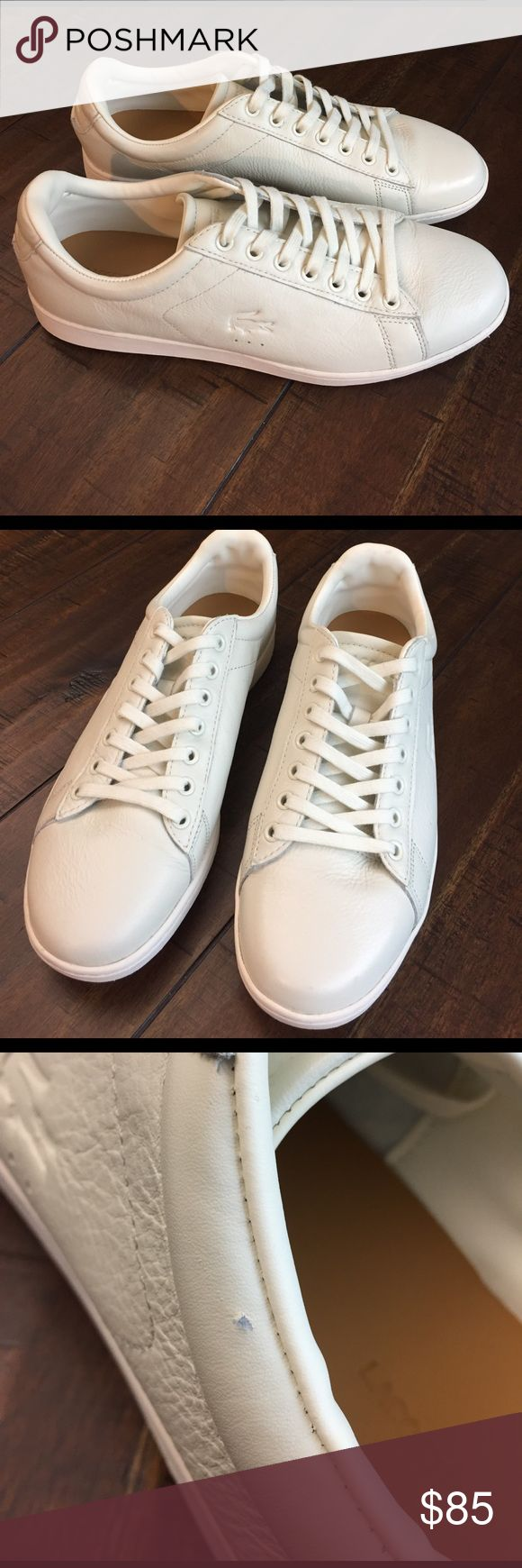 Lacoste Carnaby Evo 2 Excellent condition off white sneakers that were worn once. Purchased from Nordstrom for well over $100. Two tiny nicks shown in last two pictures. What a steal these are! Lacoste Shoes Sneakers