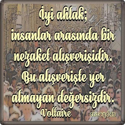 İyi ahlak; insanlar arasında bir nezaket alışverişidir. Bu alışverişte yer almayan değersizdir. Voltaire ( söz, sözler, alıntılar, özlü sözler, güzel sözler, anlamlı sözler )