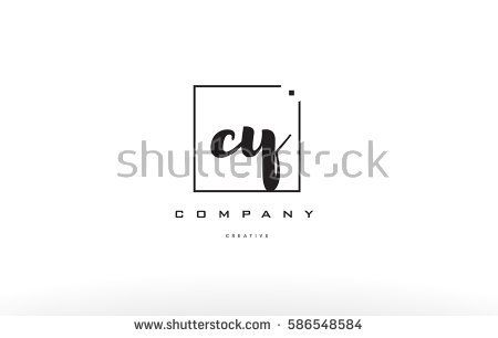 cy c y hand writing written black white alphabet company letter logo square background small lowercase design creative vector icon template