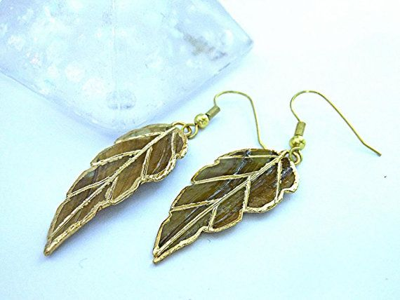 24kt Gold Dipped Hand Painted Leaf Earrings Gold by MoodTherapy, $14.95