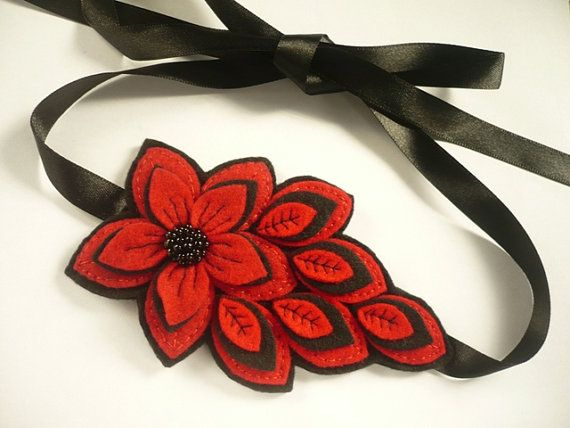 Felt  flower headband  in red and black  Felt Woman by ynelcas, $14.99