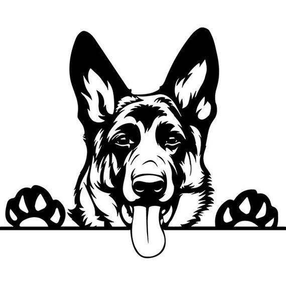 German Shepherd 24 Peeking Smiling Dog Breed K 9 Pet Police Etsy In 2021 Dog Silhouette Smiling Dogs Silhouette Art