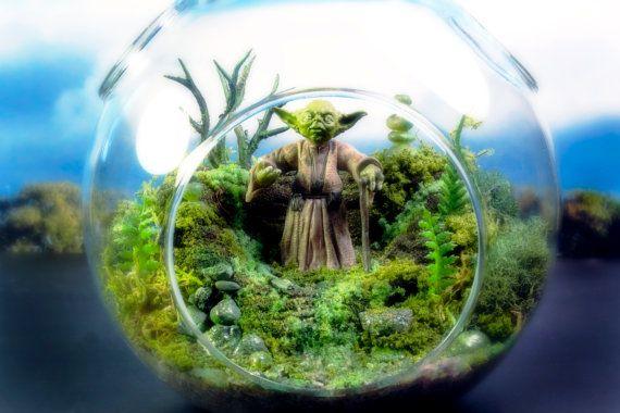 Yoda Terrarium Hanging Moss Zen Garden Star Wars by Megatone230