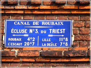 Wasquehal. La plaque émaillée de la maison éclusière du Triest. C'est aussi le siège du KWC  club de canoë-Kayak de Wasquehal.