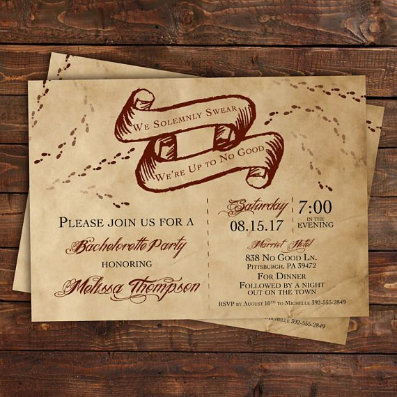 Harry Potter Bachelorette Party Invitation, Harry Potter Bridal Shower Invitation, I Solemnly Swear, No Good, Marauders Map, Printable