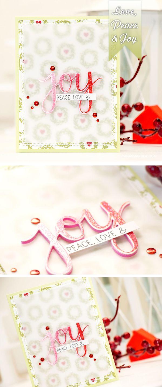 Love, Peace & Joy stamped Christmas card using Hero Arts stamps & dies. Details here: http://www.yanasmakula.com/?p=51504