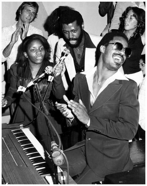 Stephanie Mills, Teddy Pendergrass and Stevie Wonder at Studio 54, 1977.
