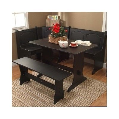 3 piece breakfast nook dining room table chair booth seat corner bench black newu2026 - Cheap Dining Room Sets
