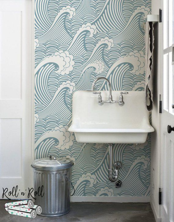 Golven Behang Japanse Behang Japan Muur Muurschildering Etsy Bathroom Wallpaper Waves Wallpaper Removable Wallpaper