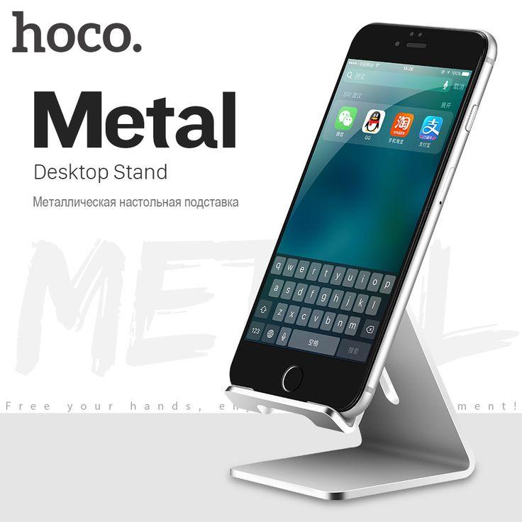 Original HOCO Desktop Holder Stand Aluminum Mobile Phone Stand for iPhone Ipad Samsung Convenient Silicagel Phone Holder Stand