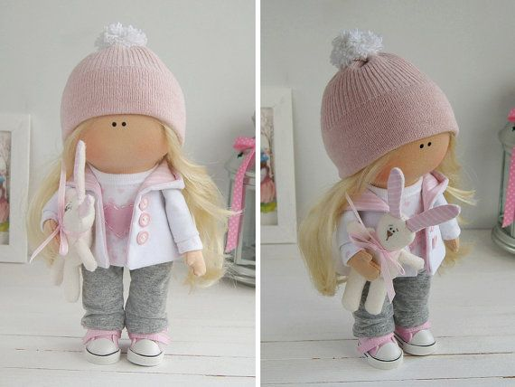 Baby doll handmade Tilda doll Interior doll Art doll blonde grey pink colors Soft doll Cloth doll Textile doll by Master Maria Lazareva