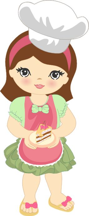 Cute Clipart Girl Baking - Minus