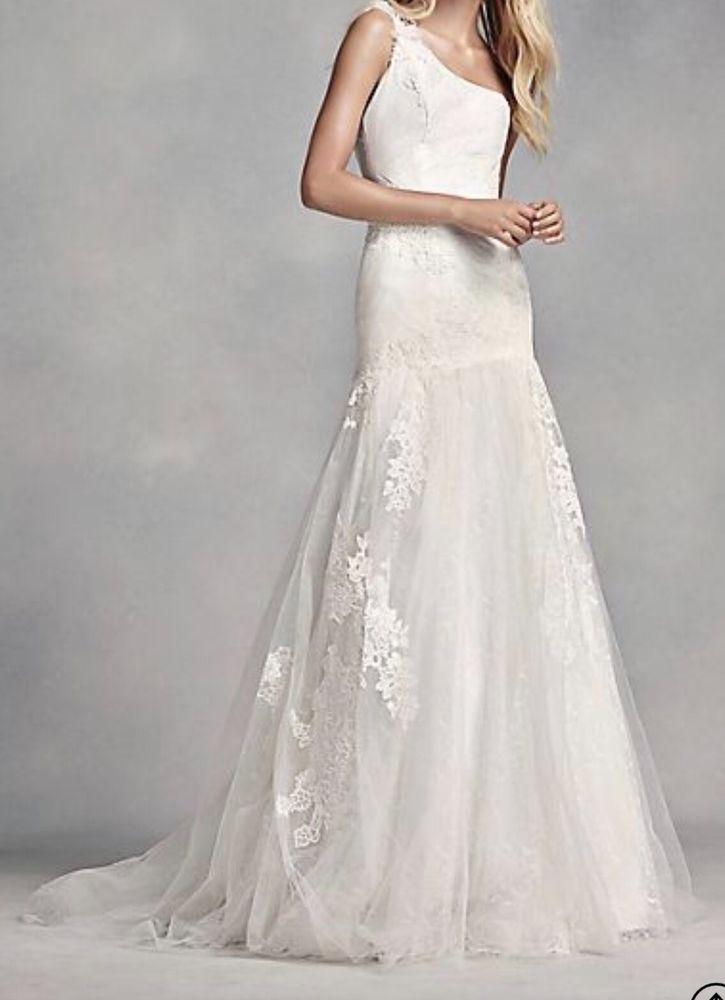 New Vera Wang One Shoulder Wedding Dress Size 8 Color Ivory