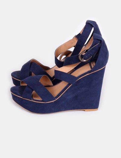 Sandalia de cuña azul marino  Pull&Bear