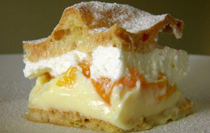 Ovocné Karpaty 5 ksvejce 200 mlvoda 150 gmáslo 200 ghladká mouka špetkasůl Žlutý krém: 3 bal.vanilkový pudink 1 lmléko 250 gmáslo 8 lžickr. cukr Bílý krém: 200 ml smetana ke šlehání 200 g jemný tvaroh 5 lžic moučkový cukr
