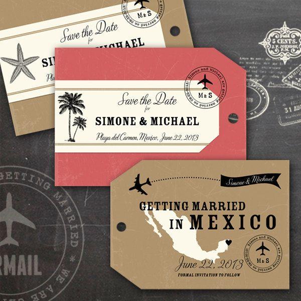 """Mariage thème """"Voyage"""" Des porte-nom bagage que les invités pourront même utiliser sur leurs valises !"""