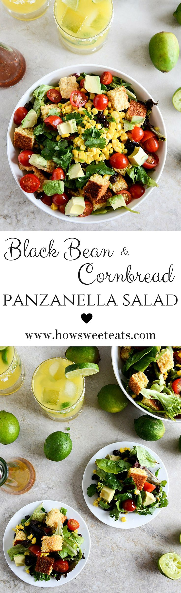 Black Bean Cornbread Panzanella Salad I howsweeteats.com