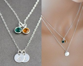 Check out Two Initial Necklace, Silver Layered Necklace, Silver Initial Disc Necklace with Birthstone, Personalized Necklace on malizbijoux
