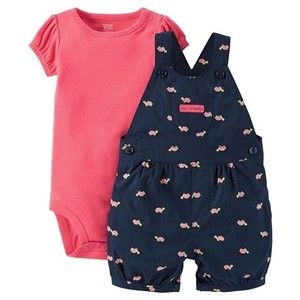 Just One You Made by Carter's Newborn Girls' Watermelon Turtle Shortall Navy