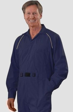 Product Description:An excellent Cold Weather Jumpsuit.  Made of a medium weight 50%Cotton / 50% Polyester Denim... with Stretch. The jumpsuit is trimmed with contrast color piping on the chest and sleeve cuffs.  Fully adjustable non-metallic nylon buckle. Raglan Sleeves.