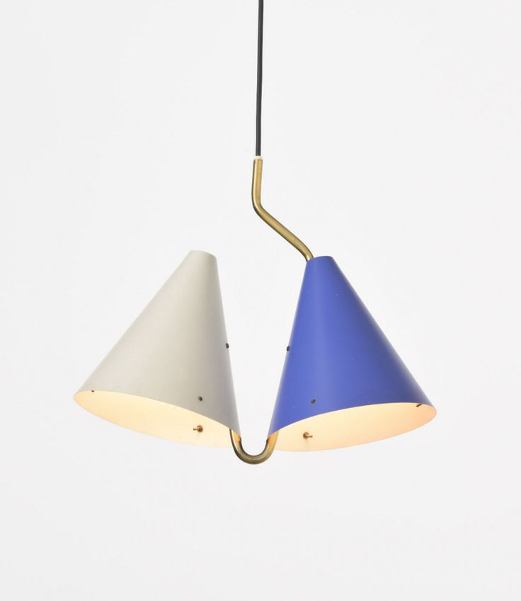 Svend Aage Holm Sørensen; Enameled Metal And Brass Ceiling Light For Lyfa,  1950s.