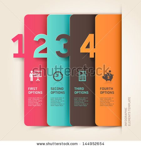 Modern business infographics number options template. Vector illustration. can be used for workflow layout, diagram, business step options, ...