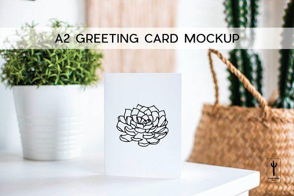 A2 Greeting Card Mockup Echeveria