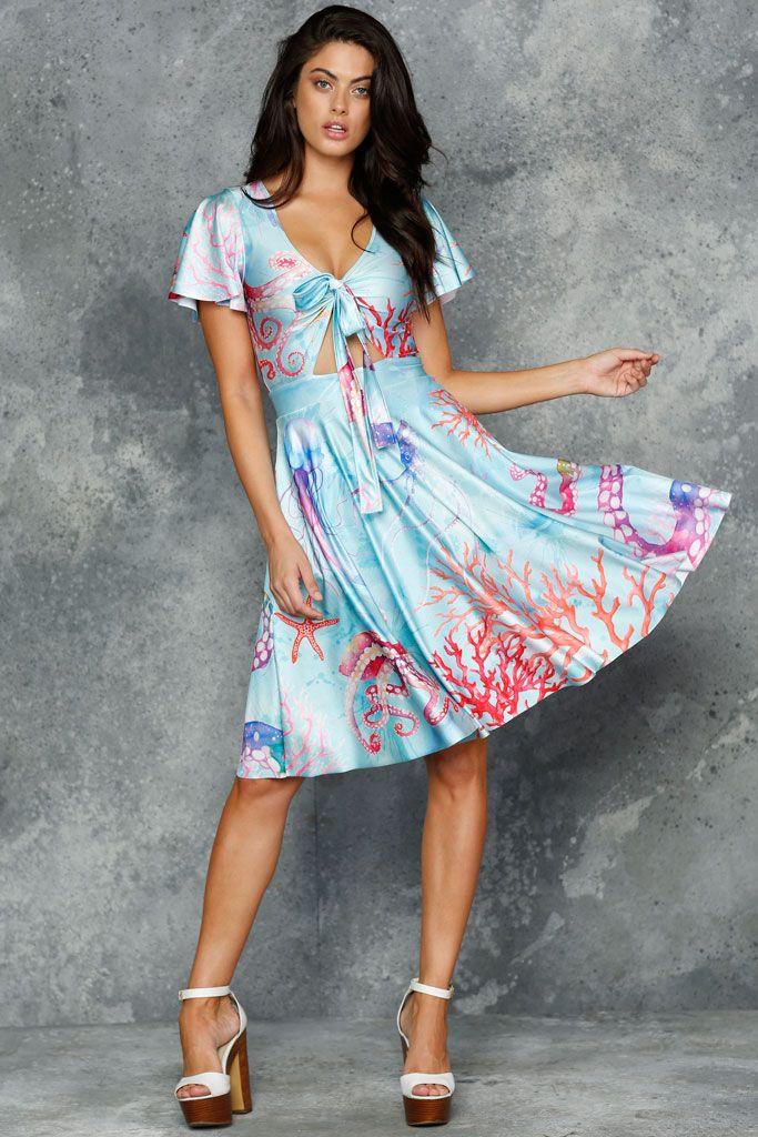 Octopus's Garden Blue Rio Midi Dress - LIMITED (AU $150AUD) by BlackMilk Clothing