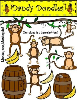 141 best clip art products by dandy doodles and little for Barrel of monkeys coloring page