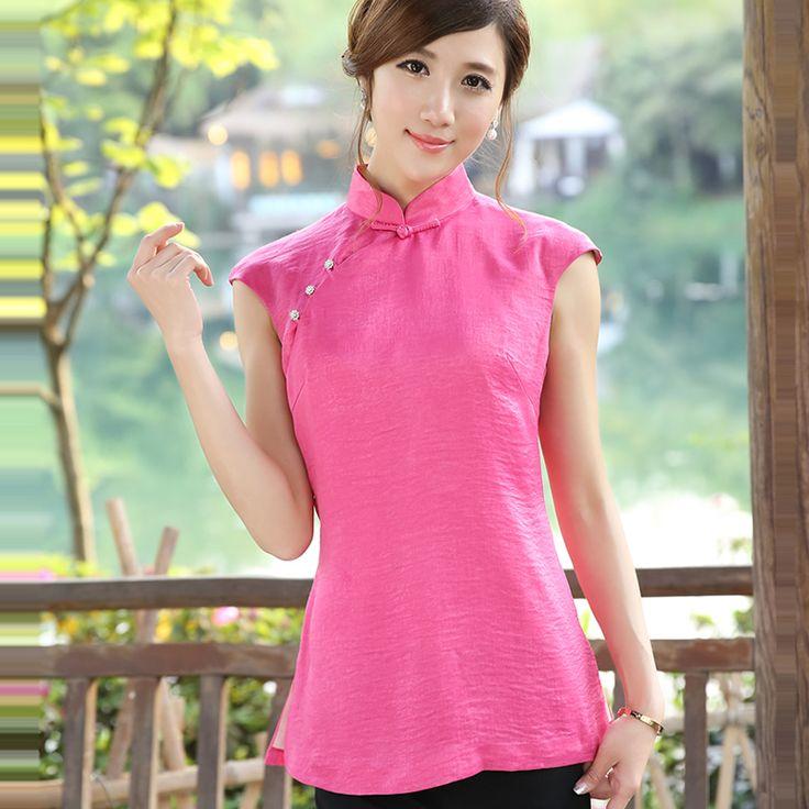 Elegant Modern Mandarin Qipao Style Shirt - Pink - Chinese Shirts & Blouses - Women