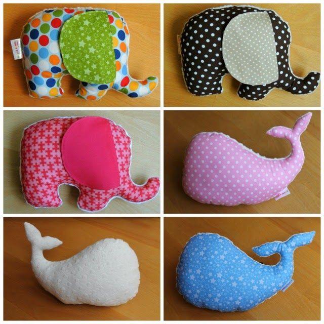 cojines con forma de elefante y ballenas hechos a manos por funkypatch