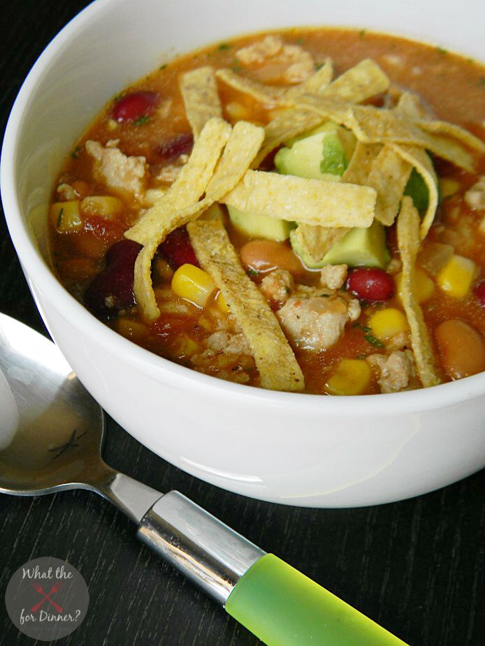 Taco Soup with Chicken www.thenymelrosefamily.com #comfortfood #souprecipes