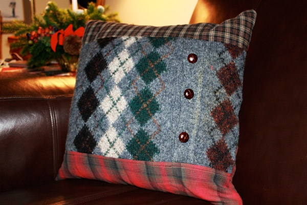 Pillow made from my Dad's old sweater and shirts