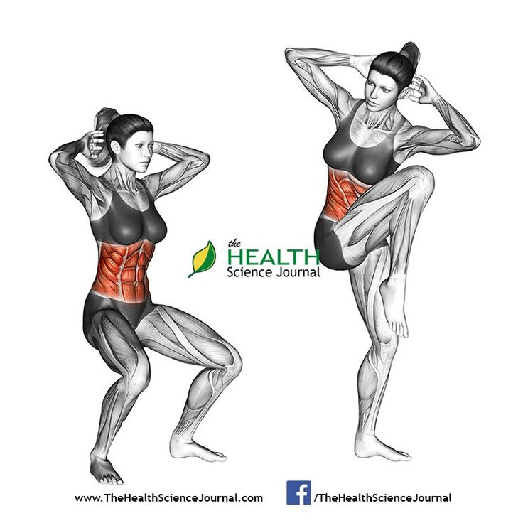 Start by placing your feet shoulder width apart, elbows bent out to sides with fingertips behind ears and maintaining a good posture. While beginning to exhale, squat slightly then shift weight to left leg as you stand, lifting your bent right knee and rotating torso toward right so left elbow and right knee meet in front of chest. Return back to the starting position while breathing in. Repeat the movement and alternate sides.