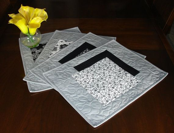 Modern Grey Placemats, Set of 4 Black White and Grey Placemats, Shadow Table Linens, Placemats for Modern Decor, Grey Place Mats