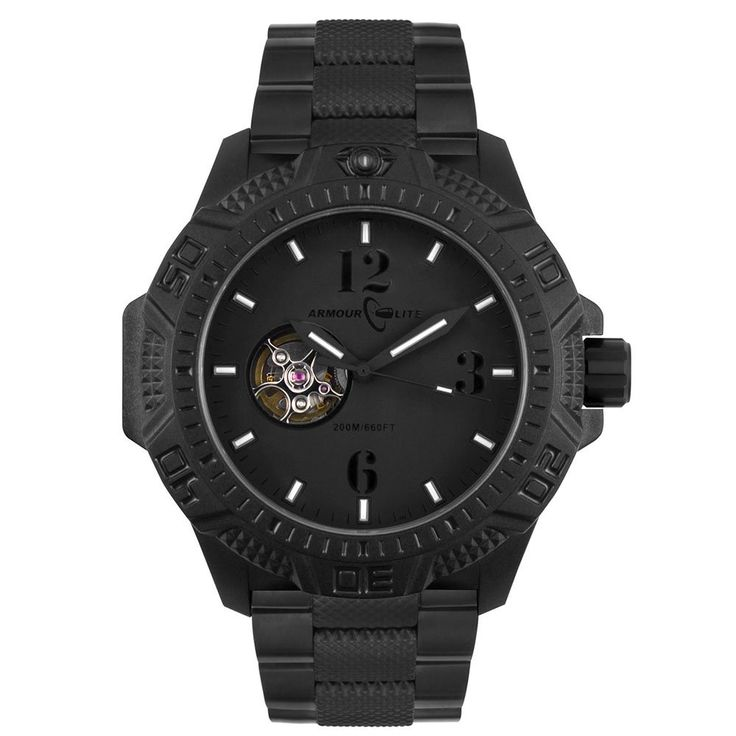 Armourlite Caliber Series Blackout Automatic Watch - Stainless Steel Band AL1224. Automatic Open Movement. Anti-Reflective Scratch-Resistant Sapphire Crystal. Green & Orange Tritium Markers. 200 Meters (20 ATM) Water Resistance. Physical Vapor Deposition (PVD) Stainless Steel Band.