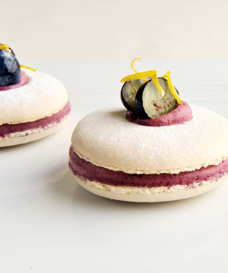 These macarons from James Sommerin are sandwiched together with a striking purple blueberry and lemon filling and can be served in the traditional manner with a glass of wine or a liqueur. This is a truly joyous way to end a dinner party.