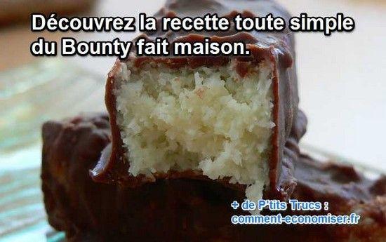Ce goût de coco enrobé de chocolat, qui peut lui résister ? Pas moi, en tout cas. Alors, du coup, j'ai cherché LA recette simple et économique pour en faire tout le temps à la maison.  Découvrez l'astuce ici : http://www.comment-economiser.fr/recette-bounty-maison.html?utm_content=buffereae97&utm_medium=social&utm_source=pinterest.com&utm_campaign=buffer