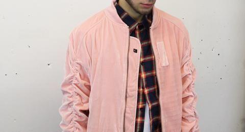 pink velvet velour bomber jacket and plaid flannel shirt