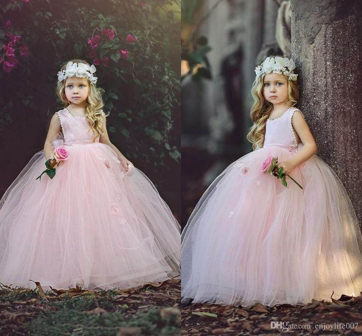 New Blush Pink Ball Gown Flower Girls Dresses 2018 Puffy Tulle Floor Length First Communion Dresses Girls Pageant Gown Custom Made Cheap Girl Wedding Dresses Girls Dresses Size 10 From Enjoylife007, $54.18| Dhgate.Com