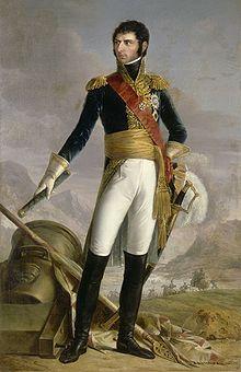 Jean-Baptiste-Jules Bernadotte, Prince de Ponte-Corvo, roi de Suède, Maréchal d'Empire (1763-1844), Joseph Nicolas Jouy (1809–1880), Musée de l'Histoire de France (Versailles). -  Engagé à 17 ans, sous officier au moment de la Révolution, colonel en 1792 et général de division en 1793. Il se distingue à Fleurus (26 juin 1794). Il sert sous  Jourdan en Allemagne (1795-1796) et sous Bonaparte en Italie (1797), puis est envoyé à Vienne comme ambassadeur (1798).