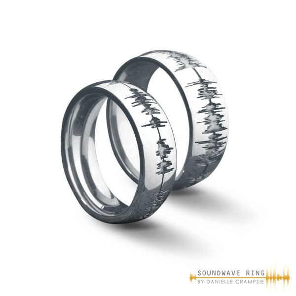 Custom Soundwave Ring Wedding Set In Stainless Steel Ido His Hers