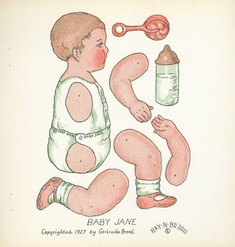 Baby Jane, A Jointed Paper Doll That Stands, Sits, Goes to Bed & Holds a Bottle. 1927 by Gertrude Breed.