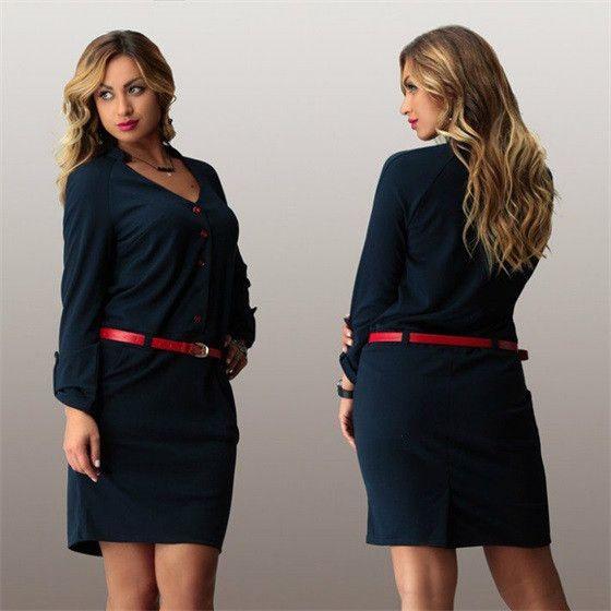 Women plus size office dress casual autumn winter solid mini Dress fashionable women loose dresses big size wear to work