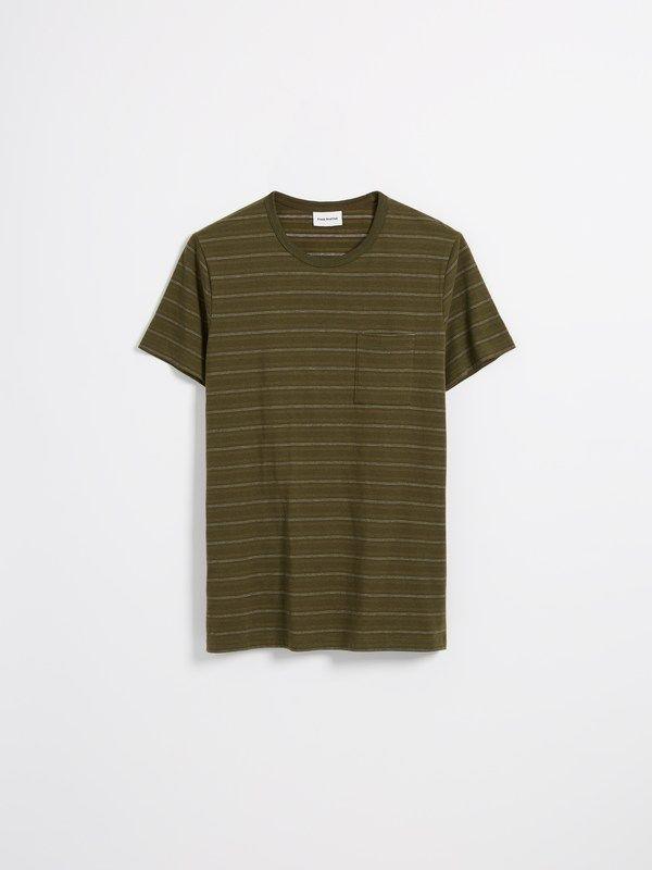 e417ddc540 FRANK + OAK Striped Good Cotton T-Shirt in Dark Olive.  frank+oak ...