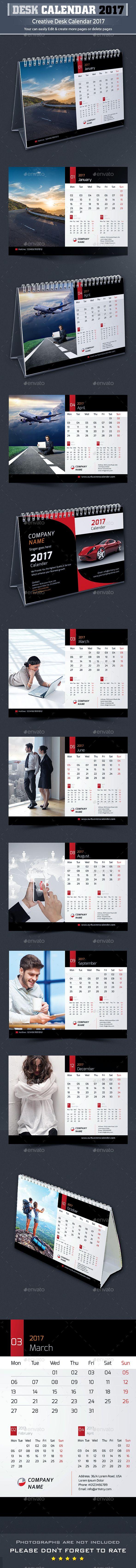 Desk Calendar 2017 Template InDesign INDD. Download here: https://graphicriver.net/item/desk-calendar-2017/16721571?ref=ksioks