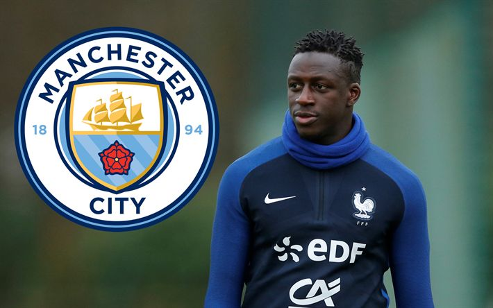 Download imagens Benjamin Mendy, O Manchester City, Futebolista francês, retrato, futebol, nova Manchester City emblema