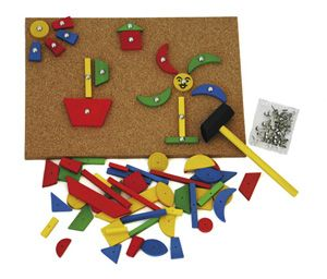 Tap Tap Geometric Shapes Set Hammer hammer tap tap! Great for fine motor skills. Joshua is hammering with a large mallet at the moment.