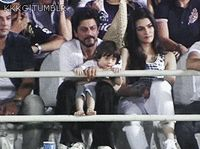cutest animation - SRK with AbRam opening IPL match, 2015